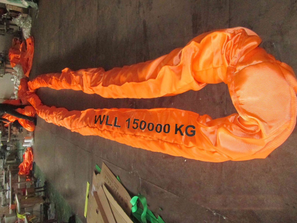 WLL 150T Polyester Round Slings,150000kg Heavy Duty Endless Round Lifting Slings