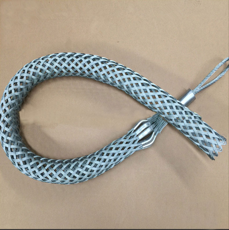 Heavy duty steel cable pulling grips wire mesh sock for power construction
